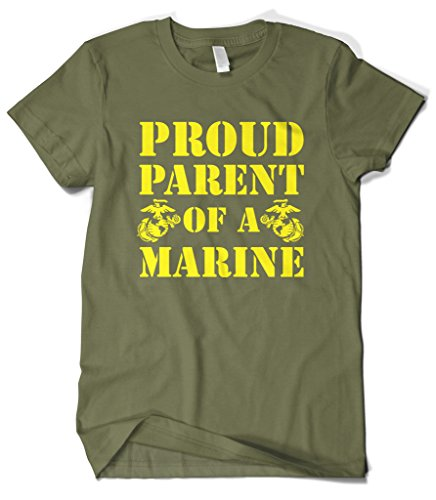 Cybertela Men's Proud Parent Of A Marine USMC T-Shirt (Olive Green, 4X-Large) Army Mom Green T-shirt