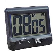 DierCosy Electronic Alarm Clocks LCD Digital Kitchen Large Digit Timer Count-Down Up Clock Loud Alarm Black