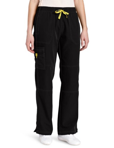 WonderWink Women's Scrubs Four Way Stretch Sporty Cargo Pant, Black, Large/Tall Bootcut Scrub Pants