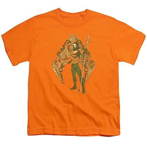 Aquaman Movie Shells Unisex Youth T Shirt for Boys and Girls, Small Orange ()