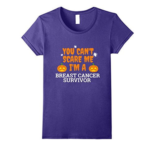 Halloween Costume Breasts (Womens Can't Scare Me I'm Breast Cancer Survivor T-shirt Halloween Large Purple)