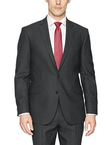 (Kenneth Cole REACTION Men's Techni-Cole Stretch Slim Fit Suit Separate Blazer (Blazer, Pant, and Vest), Gunmetal Basketweave, 38 Regular)