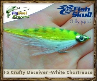 FlyDeal Fishing Flies Fish-Skull Crafty Deceiver White/Chartreuse - Streamer (1-Fly)