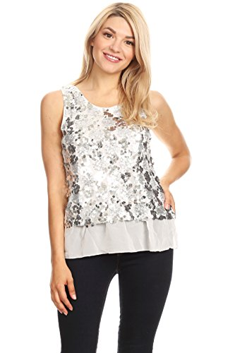 Anna-Kaci Womens Sequin Wide Strap Sheer Ruffle Hem Sparkly Party Dance Tank Top, Silver, X-Large