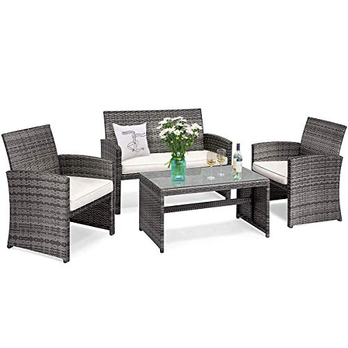 Tangkula 4-PCS Wicker Patio Conversation Set, Outdoor Rattan Sofas with Table Set, Patio Furniture Set with Soft Cushions & Tempered Glass Coffee Table for Poolside Courtyard Balcony (1, Mix Grey)