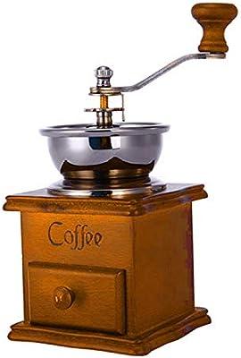 Hogar de la mano Amoladora molinillo de café Cafetera Aspecto del grano de café Amoladora antigua de acero inoxidable Base de Madera: Amazon.es: Hogar