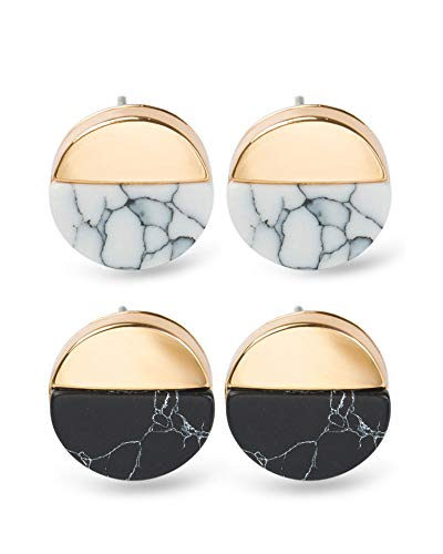 Zealmer Shoopic Marble Studs Tiny White Howlite Circle Coin Piercing Earrings for Women
