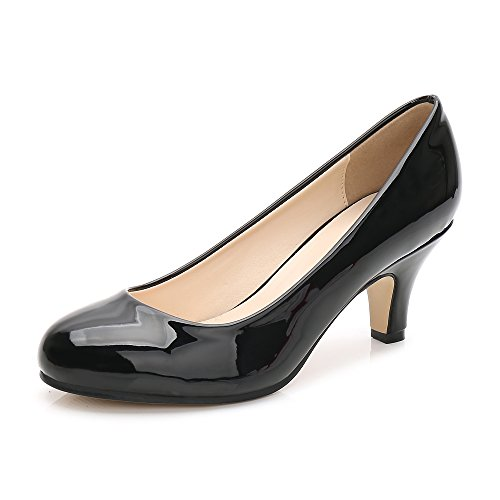 Women's Closed Round Toe Low Kitten Heel Slip On Dress Pump Black Patent Tag 44 - US B(M) 11