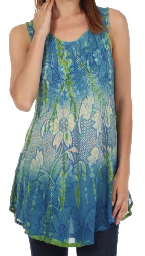 Sakkas 40831 Ombre Floral Tie Dye Flared Hem Sleeveless Cotton Tunic Blouse - Blue / Cream - One Size (Silk Blouse Tunic)