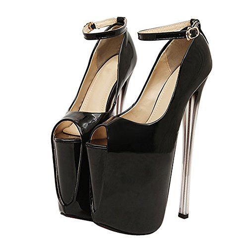 Womens Fashion Peep Toe Platform Super High Heel Pump Wedding Shoes 22CM Black EU 38 - US 7.5 aWwYr8m59G