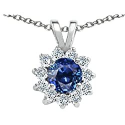 Tommaso Design Round Genuine Sapphire Pendant Necklace 14kt Gold