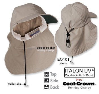 Adams EOM101 6-Panel Cap with Elongated Bill and Neck Cap - Khaki - OS