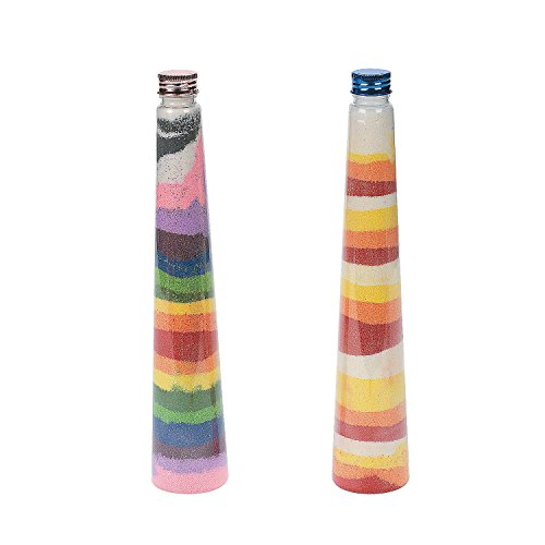 Fun Express - Triangular Cone Sand Art Bottles (1dz) - Craft Supplies - Sand Art - Containers - 12 Pieces