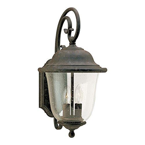 11 1/2' Three Light (Sea Gull Lighting 8460-46 Trafalgar Two-Light Outdoor Wall Lantern with Clear Seeded Glass Shade, Oxidized Bronze Finish)