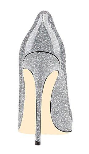 EDEFS Escarpins Vernis Femme Eté Sexy Bout Pointu Chaussures Talon Haut Aiguille Argent tjw7oWnTv