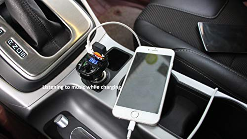 Handsfree Call Car Charger,Wireless Bluetooth FM Transmitter Radio Receiver,Mp3 Audio Music Stereo Adapter,Dual USB Port Charger Compatible for All Smartphones,Samsung Galaxy,LG,HTC,etc.