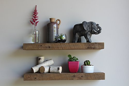 Urban Legacy Floating Shelves Made From Genuine Reclaimed Wood | Trendy, Modern, Barn Wood | Amish Made in Lancaster County, PA (Natural, 24