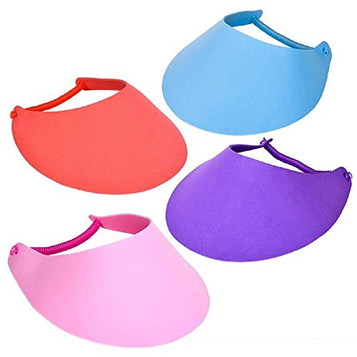 ~ 12 ~ Foam Visors with Coil Bands ~ Assorted Colors ~ New ~ Sun Hat, Craft (Plastic Visors)