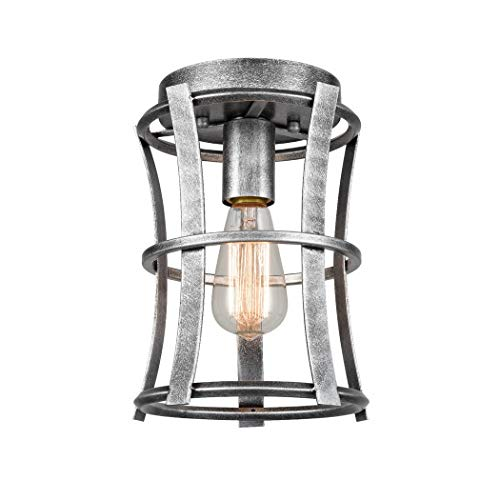CLAXY Farmhouse Flush Mount Ceiling Light Antique Silver Lantern Cage Light Fixture