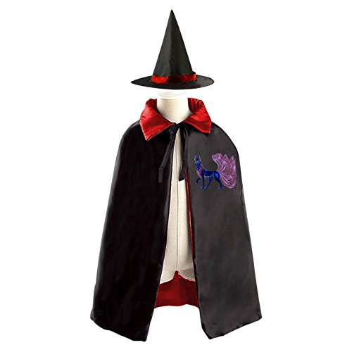 DIY The nine-tailed fox Costumes Party Dress Up Cape Reversible with Wizard Witch Hat - Diy Kids Fox Costume