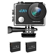 DBPOWER 4K Action Cam WIFI Sport Action Camera Full HD 20MP 170° Grandangolare,Telecamera subacquea con 2 batterie e accessori per nuoto, ciclismo e altri sport all'aperto (nuova versione 2017)