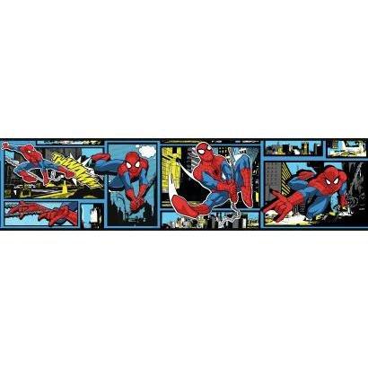 - York Wallcoverings Disney Kids III Marvel Ultimate Spiderman Comic Border, Blues