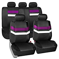 FH Group Leather Full Set Seat Cover (Airbag Safe & Split Bench Ready), 1 Pack