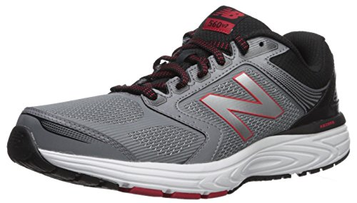 New Balance Men's 560v7 Cushioning Running Shoe, Silver/Black, 8.5 D US (Best New Balance Stability Running Shoes)
