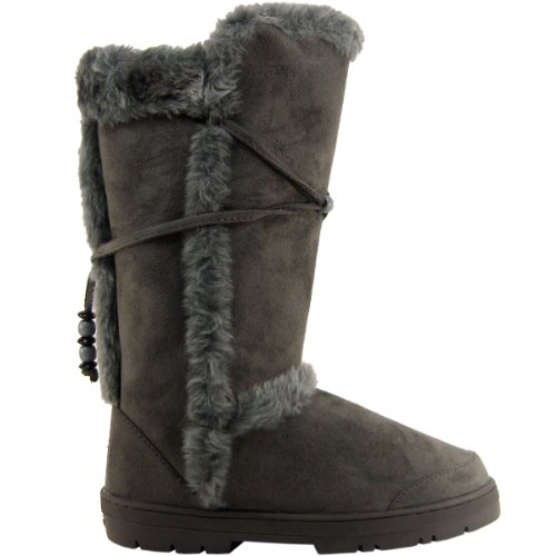 9eef0846686 Amazon.com | Womens Tall Faux Fur Lined Thick Sole Winter Snow Boots ...