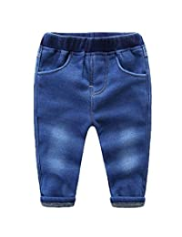 Buy-Box Boys Girls Thickened Washed Jeans Warm Pants Velvet Denim Pants