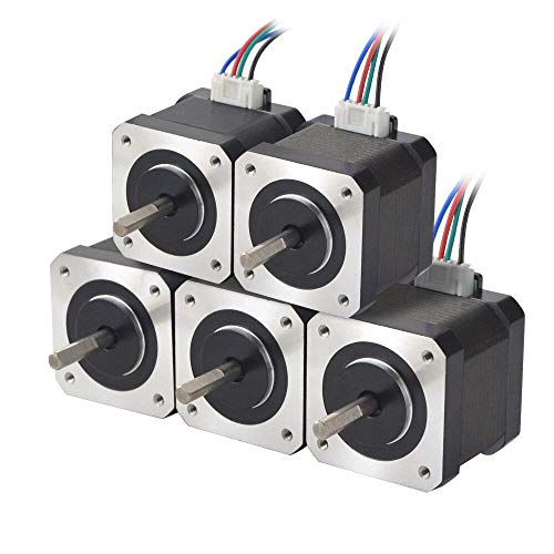 STEPPERONLINE 5PCS Nema 17 Stepper Motor 1.5A 12V 45Ncm (63.74oz.in)4-Lead 39mm Body W/ 1m Cable and Connector for DIY CNC/ 3D Printer/Extruder