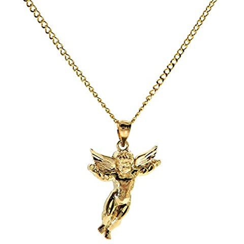 Genuine Stamped 10K Yellow Gold Cuban Curb Link Chain Small Charm Pendant Necklace [ASSORTED SETS] (Angel S + 24 Inches (Angel Gold Chain For Men)