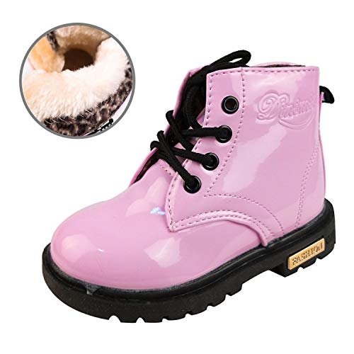 (GaldGG Toddler Little Kids Boys Girls Martin Boots Ankle Boots Side Zipper Lace-up Winter Snow Boots Plush Inner Waterproof Outdoor Walking Shoes Pink)