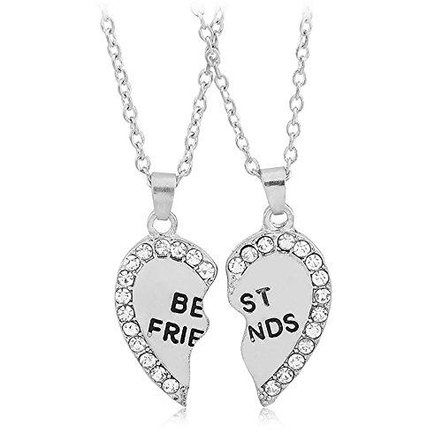 Pop Fashion Best Friend Necklaces - White Rhinestones: Best Friend Engraved Split Heart Pendant Necklace (Silvertone)