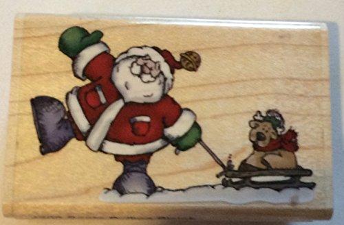 Hamptons Sleigh - Wood Handle Rubber Stamp - Santa Pulling Sleigh