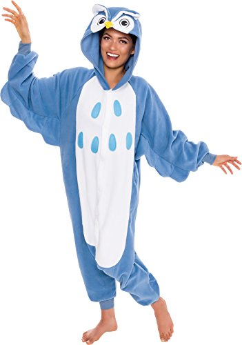 [Silver Lilly Adult Pajamas - One Piece Cosplay Animal Costume (Blue Owl, L)] (Halloween Adult Onesies)