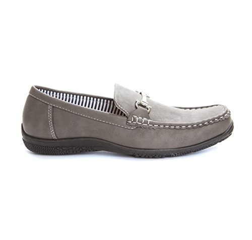 Soho Shoes Mens Slip on Casual Penny Loafers Boat Dress Shoes Grey ImXSP4j