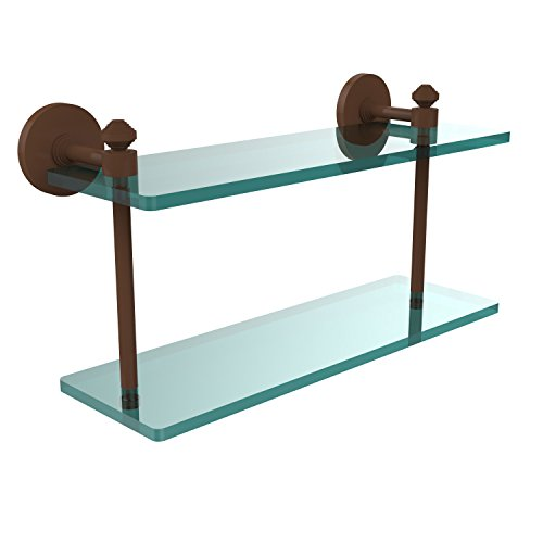 Allied Brass SB-2/16-ABZ Southbeach Collection 16-Inch by 5-Inch Double Glass Shelf, Antique Bronze by Allied Precision Industries