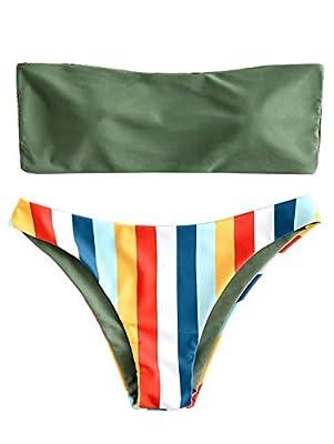 ZAFUL Women's Rainbow Striped Bandeau Bikini Set Strapless High Cut Two Piece Swimsuit