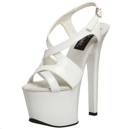 Pleaser SKY-330 - Zapatos con correa de tobillo para mujer Blanco (Schwarz)