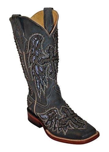 Ferrini Western Boots Womens Laser Angel Cross 7 B Slate 83093-56