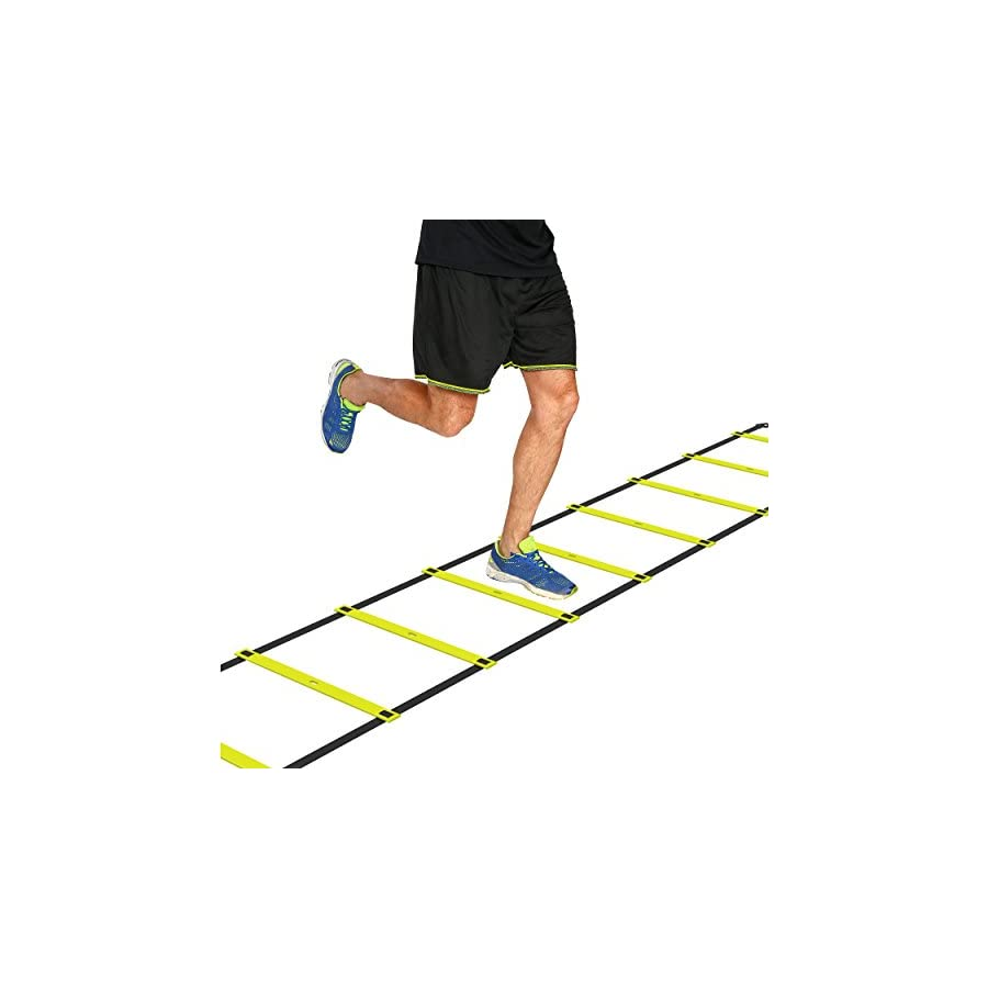 Mantra Sports 15 Foot Footwork Agility Ladder and A3 Laminated Drill Chart for Speed Training Fitness Workouts and HIIT Cardio with 11 Adjustable Rungs … (Yellow)