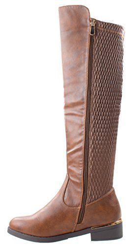 Boots Elastic Ginger Top Moda Wide Women's Tan Shaft Toe 5 Calf Round Stretch Shoes Knee High Riding 44wFSxU