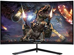 "27"" Curved gaming monitor 1920 x 1080 Full HD resolution up to 144Hz refresh rate AMD Free Sync compatible 2 x HDMI 1 x DisplayPort The brightness is 250 cd/m2"