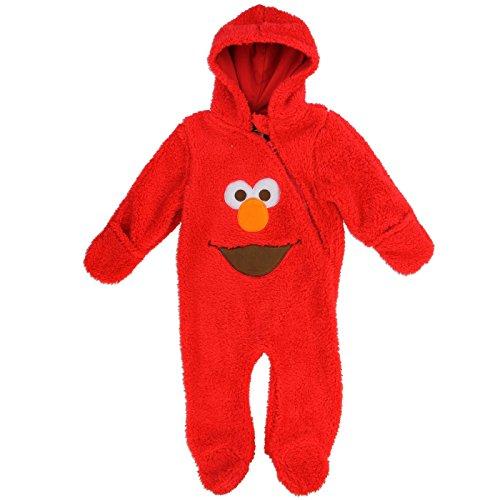 Sesame Street Baby Boys Hooded Sherpa Bunting Pram (0/3 Months, Elmo Red) (Bunting Sherpa)
