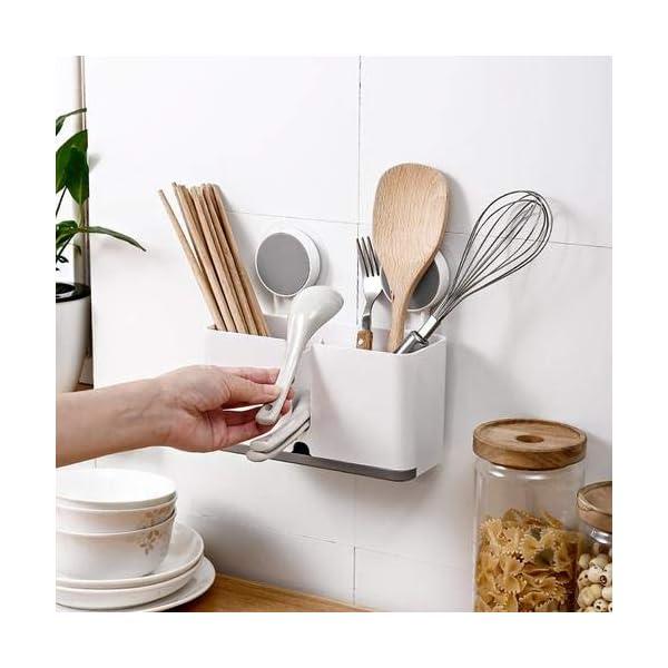 41MUB Halterung für Besteck Küchenablage Besteckhalter Spülbecken Organizer Küche Drainer Rack Utensilienhalter zum Aufhängen…