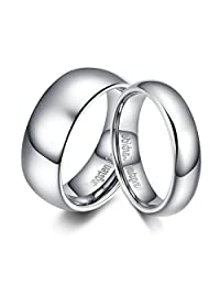 Women's Men's Wedding Couple Rings Tungsten Ring Band Silver Comfort Fit Dome Polished