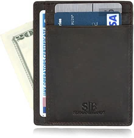 SERMAN BRANDS - RFID Blocking Leather Slim Wallet, Minimalist Front Pocket Wallets For Men Credit Card Holder Made From Full Grain Leather