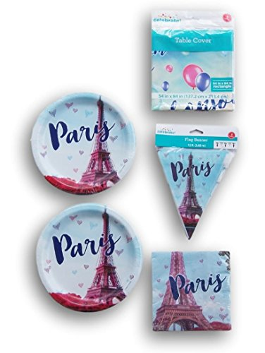Paris Themed 20 Person Party Supply Kit - Plates, Napkins, Banner, Tablecover (Dinner Walmart Tables)