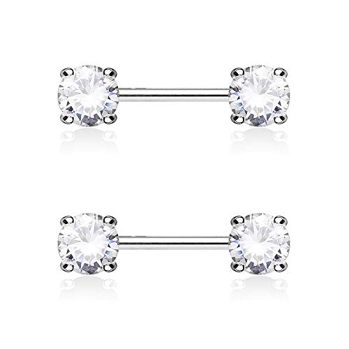 Dynamique Pair Double Front Facing Round Prong Set CZs 316L Surgical Steel Nipple Bars -